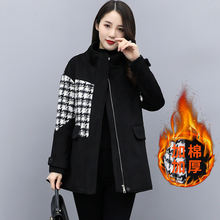 Новинка Осень зима 2020 черное шерстяное пальто женское утепленное