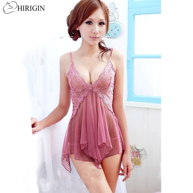 Hot Women Nightdress Nightwear Pink sexy underwear women See through Lace Babydoll Halter Backless Lingerie G-string Dress Set