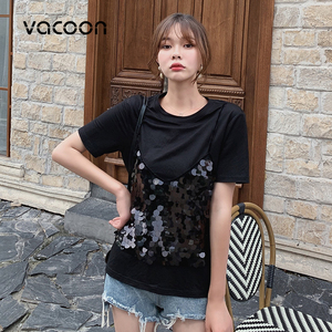 Image 2 - New Female Fashion Summer Tops Women Fake 2 Pieces Casual Sequins T Shirt Short Sleeve Top Tee