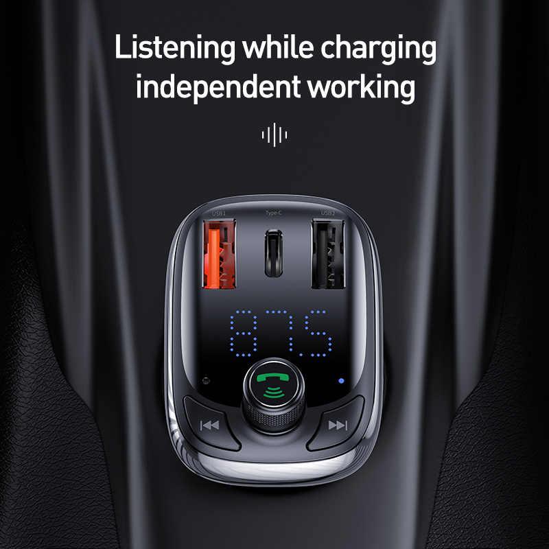 Baseus Quick Charge 4.0 nadajnik FM ładowarka samochodowa do telefonu zestaw samochodowy Bluetooth 5.0 Audio odtwarzacz MP3 36W szybkie ładowanie car-harger