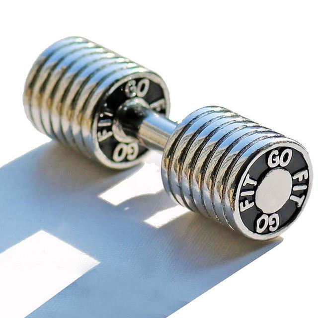Egzersiz dambıl anahtarlık paslanmaz çelik CrossFit Fitness anahtar zincirleri araba anahtarları için sportif spor motivasyon takı