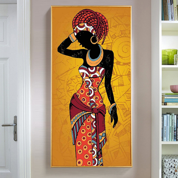 Beautiful African Woman Art Black and Gold Colour Paintings Printed on Canvas 4
