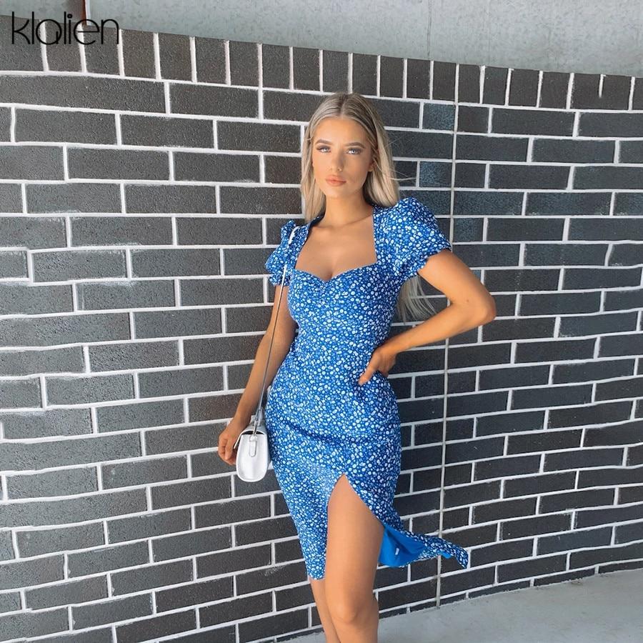 KLALIEN summer elegant French Romance Retro Dress Women Casual Floral Square Collar boho Ruffles Puff Sleeve mini Dress Lady