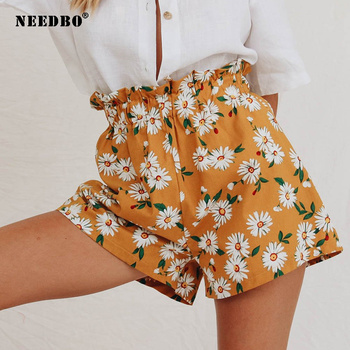 NEEDBO Summer Shorts Women High Waist Print Floral Beach New Style Sport for Ladies Booty Mujer Pantalones