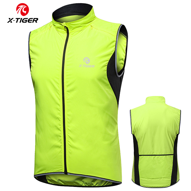 X-TIGER Windproof Cycling Vest Rainproof Sleeveless Reflective Safety Vest MTB Bike Jacket Outdoor Sport Quick-Dry Rain Jacket