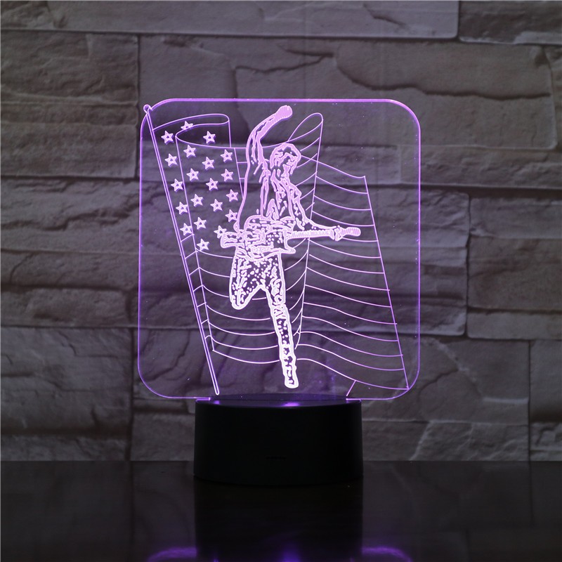 Music Guitar Player 3D LED Acrylic Night Light with 7 Colors Touch Remote Control Illusion Change Home Decoration Lights 1574 image