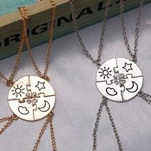 Conjunto de 4 peças melhor amigo amizade colar sol lua nuvem e estrela incrustada strass costura bff pingente moda jóias presente