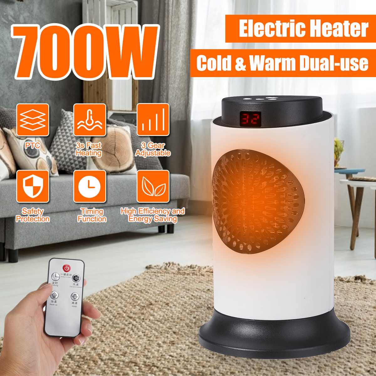 220V 50Hz 700W Power Electric Heater Ceramic Heating Electric Warmer Heater Room Heaters Warm Air Fan Heater