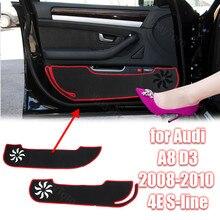 Tapete decalque guarnição proteção poliéster porta do carro anti pontapé almofada adesivo para audi a8 d3 2008-2010 4e s-line esteira protetora