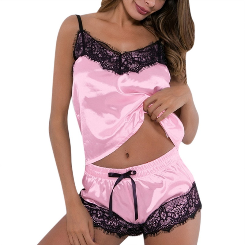 2Pcs Mode Frauen V-ausschnitt Stretch Satin Babydoll Spitze Sexy Dessous Bowknot Pyjamas Schlaf Shorts Set Pijama Anzug Nachtwäsche Frauen