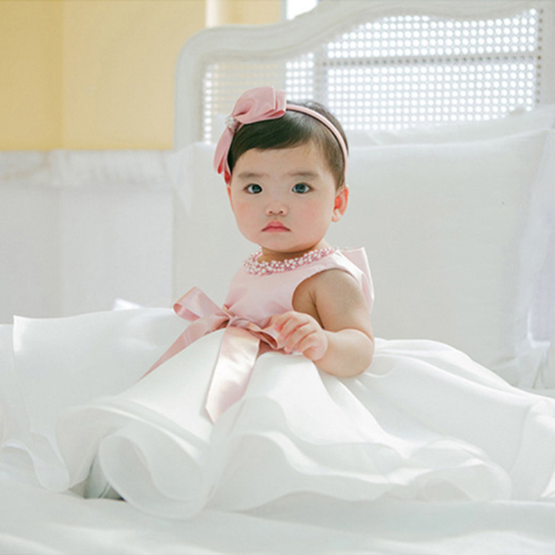 A Year Of Age Baby Princess Dress Infant Hundred Days Wedding Dress Girls Mixed Colors Dress Bow Children Shirt