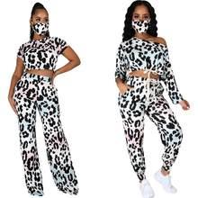 Moletom de leopardo feminino 3 peça manga longa fora do ombro pulôver e cordão sweatpants esporte outfits corredores conjunto casual