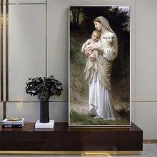 Tuval boyama soyut İsa ve bakire Mary bebek portre posterler ve baskılar İskandinav duvar sanat resmi oturma odası için