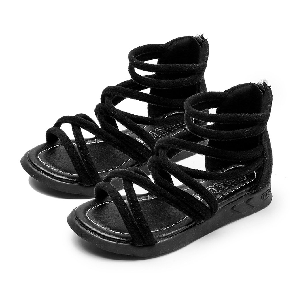 Fashion Solid Color Girls Beach Sandals Suede Leather Upper Back Zipper Summer Shoes Cross Strap Flat Baby Shoes
