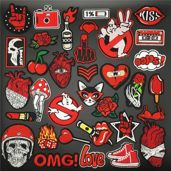 Red Ghost Heart Patches for Clothing Embroidered Iron On Badges Stripes for Clothes Stickers Appliques DIY Decoration Patch 3pcs pink flowers pearl clothes embroidered sew on patches for clothing diy stripes motif appliques parches