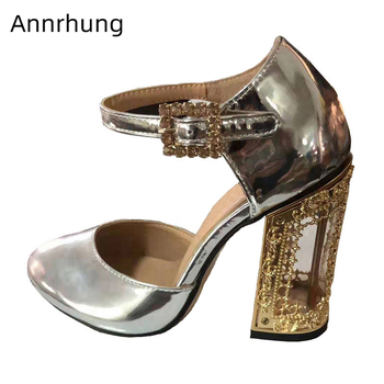 Bright Patent Leather Banquet Shoes Woman Unique Fretwork Metal Heel Round Toe Cut Outs Rhinestone Buckle Belt High Heel Pumps