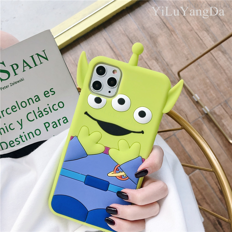 For <font><b>iPhone</b></font> 6 6s 7 8 Plus X <font><b>XR</b></font> XS 11 Pro Max 3D Cute Cartoon <font><b>Toy</b></font> <font><b>Story</b></font> Alien Phone Case Soft Silicone Rubber Cover Fundas <font><b>Coque</b></font> image