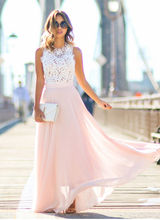 Fashion Hot Sell Summer Boho Maxi Long Hollow Out Patchwork Sundress Women Sexy Vestidos Party Dresses Nude Pink Beach