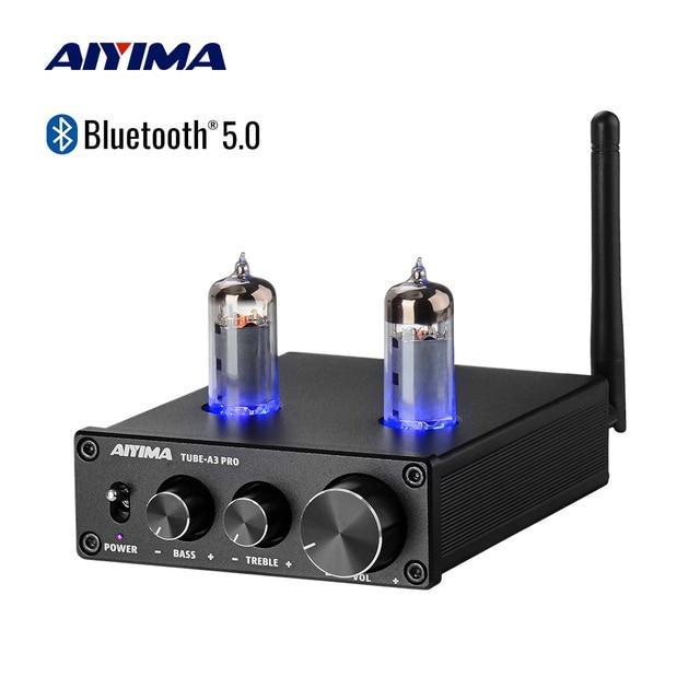 AIYIMA 6K4 فراغ مُضخّم صوت Preamplifier بلوتوث 5.0 الصفراء قبل أمبير فراغ أنبوب Preamp مع ثلاثة أضعاف باس لهجة تعديل