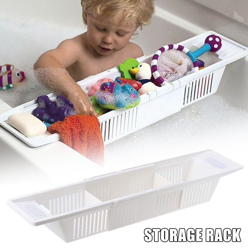 Bathtub Caddy Tray Plastic Bathtub Basket Shelf Rack Bath Toys Organizer Retractable Storage Rack QP2
