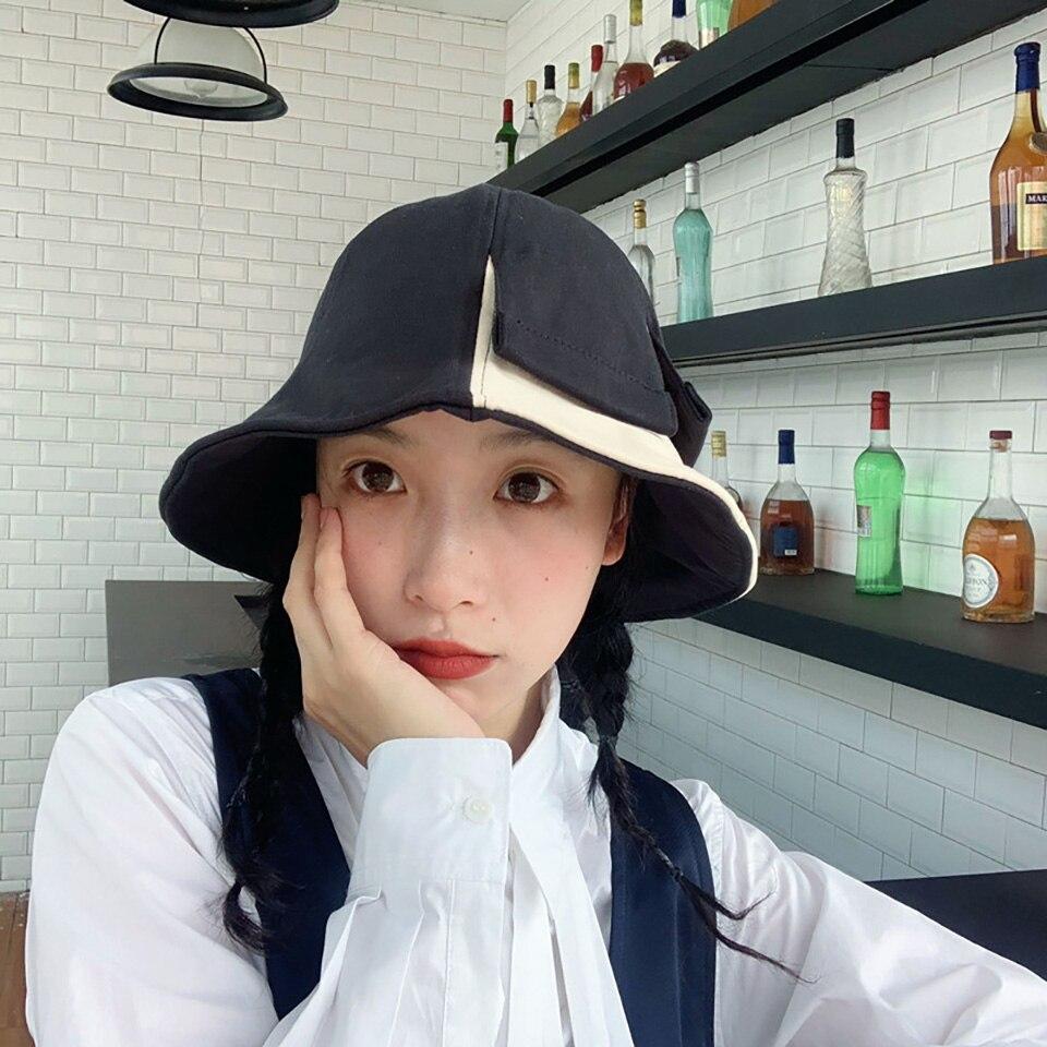 Vintage Autumn Winter Black White Bucket Hats Fisherman Caps For Women Gorras Summer French Romatic Gentle Hat Elegant Caps