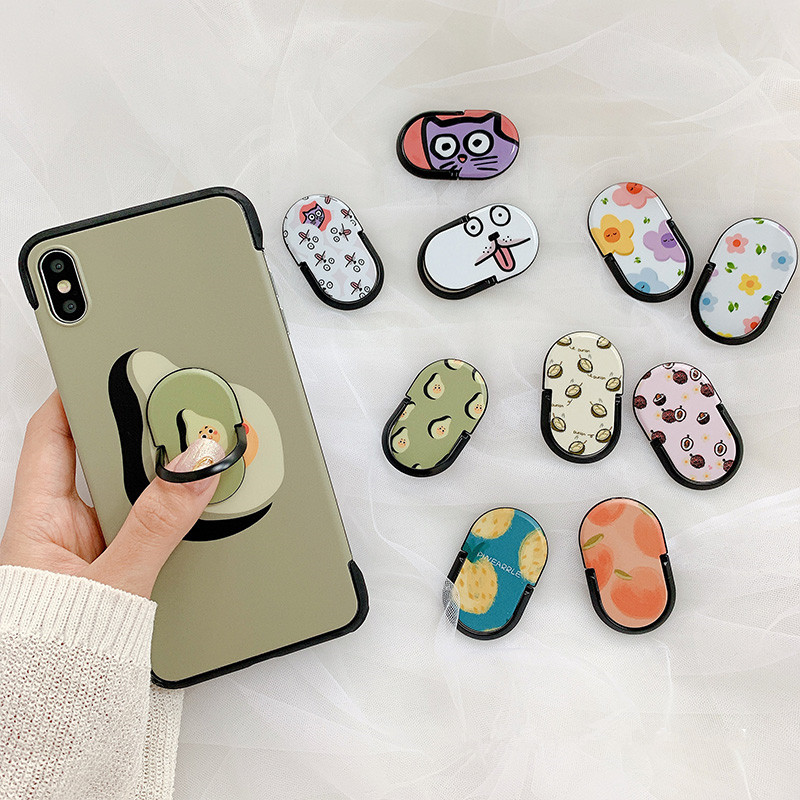 New Ultra-thin Cartoon Folding Bracket Ring Buckle Avocado Universal Stand Bracket For Iphone Samsung Huawei Xiaomi Phone Case