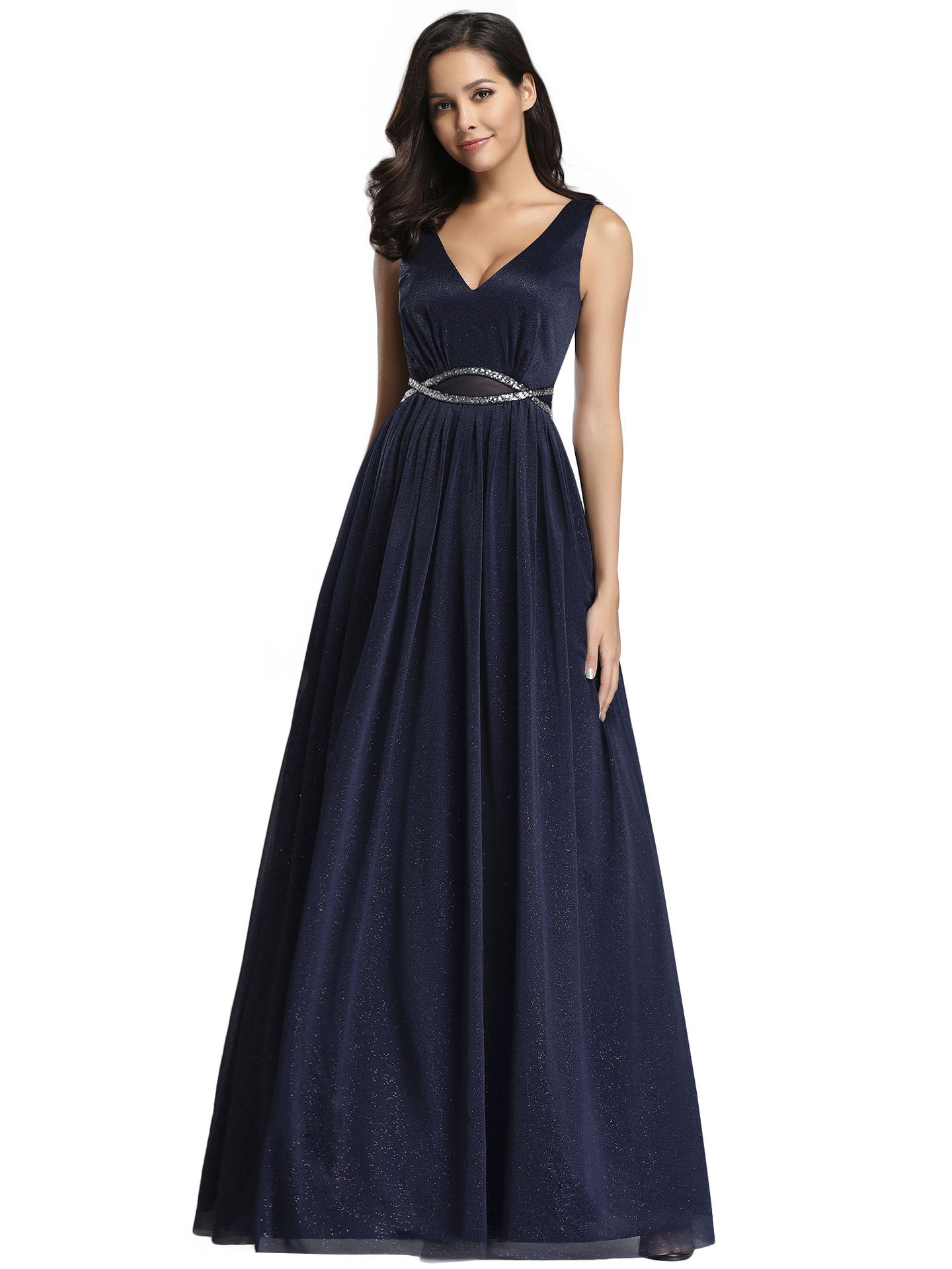 OLLYMURS New Elegant Woman Evening Gown Simple Dark V Sleeveless Collar Navy Evening Dress Suitable For Formal Parties