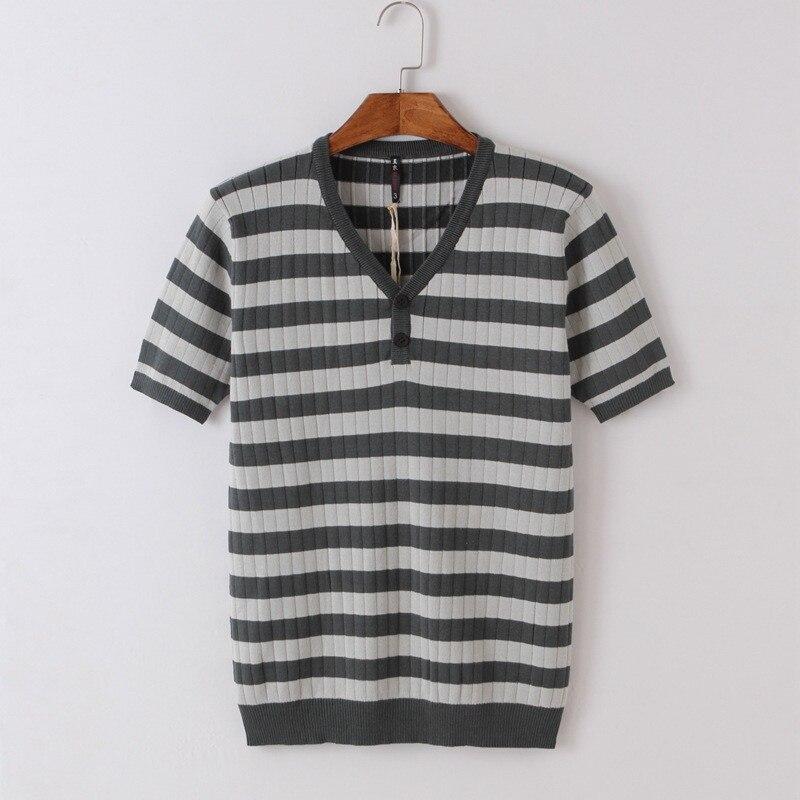 Summer Men's Short Sleeve T-Shirt Cotton Lapel Stripe Loose Trend Half Sleeve Dress