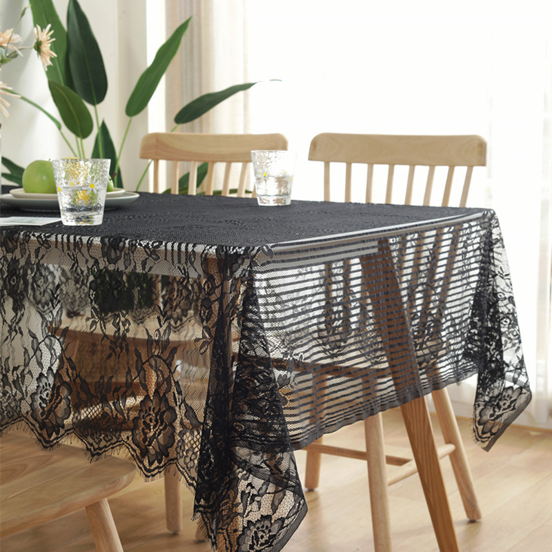 American country eyelash lace tablecloth black and white beautiful cloth napkin <font><b>coffee</b></font> <font><b>table</b></font> <font><b>cafe</b></font> book <font><b>table</b></font> linen image