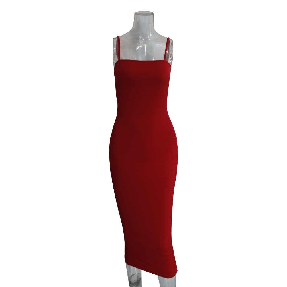 HAOYUAN Spaghetti Strip seksowna sukienka kobiety nowe ubrania urodzinowe Bodycon Midi Vestidos Neon zielony Backless nocna impreza sukienki klubowe