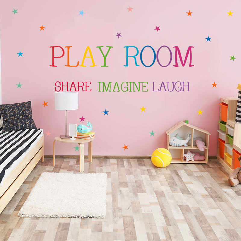Colored Pattern Play Room Wall Sticker Kids Rooms Bedroom Decorations Wallpaper English Proverbs Mural Removable Stickers