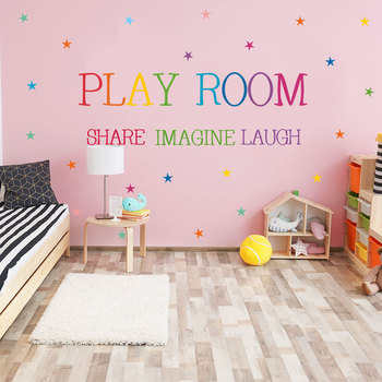 Colored pattern Play Room Wall Sticker kids rooms bedroom decorations wallpaper English proverbs Mural Removable stickers creative removable proverbs in this house 55 8 55 8cm wall stickers for homes