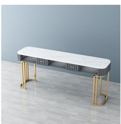 Мраморный Маникюрный Стол и стул со знаменитостями, набор, одинарный, двойной, золотой, железный, двухэтажный, Маникюрный Стол, простой, роскошный светильник - Цвет: 180cm