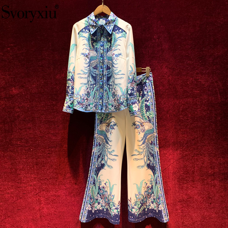 Svoryxiu 2020 Spring Summer Fashion Runway Two Piece Set Women's Vintage Blue White Flower Print High Quality Pants Suits