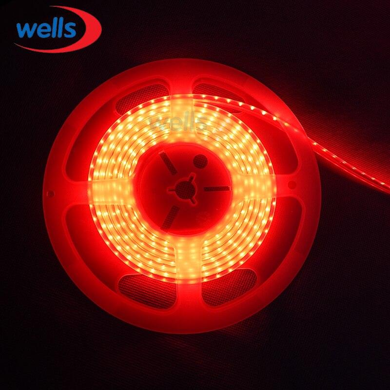 Hq 5m superbright 5mm alto brilhante 3014 smd 120 leds/m l branco/branco morno/vermelho/azul/verde/amarelo tira conduzida 12 v dc wp