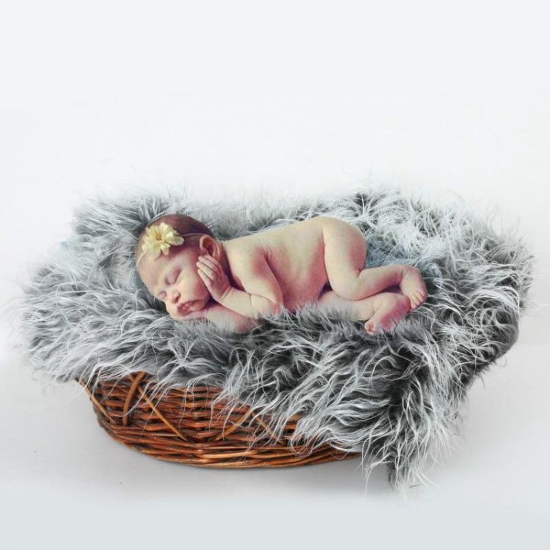 Newborn Photography Props Soft Baby Fur Blankets Faux Fur Background Blankets Cute Infant 4 Colors Fotografia Blankets 50*50cm