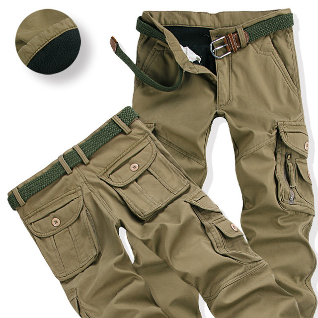 Mens Winter Pants Thick Warm Cargo Pants Casual Fleece Pockets Fur Trouser Plus Size 38 40 3