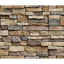 купить OUTAD New 3D Stone Brick Wallpaper Removable PVC Wall Sticker Home Decor Art Wall Paper for Bedroom Living Room по цене 159.32 рублей