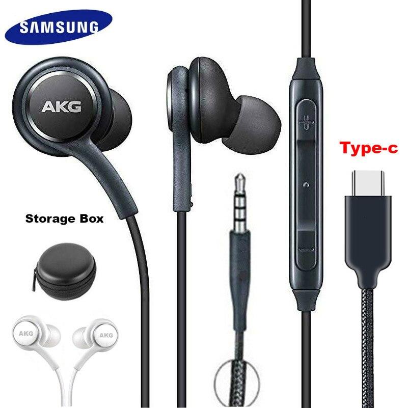 Fones de ouvido samsung eo ig955 akg fone de ouvido in-ear 3.5mm/tipo-c com microfone com fio para samsung galaxy note10 s10/s10 + s9 s8/s8 + s7 huawei