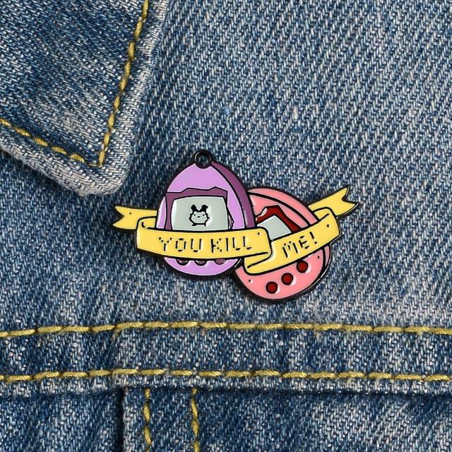 Różowe słowa znak emalia Pin gest automat do gier Dialog broszka dżinsy worek na koszulę kreskówka modna biżuteria na prezent dla przyjaciół