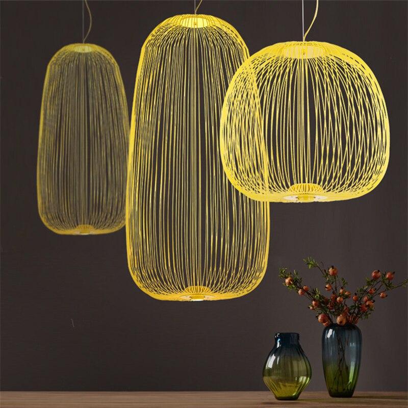 Современный подвесной светильник с птичьей клеткой, скандинавские настенные спицы, светодиодные подвесные лампы, лофт, столовая, кухня, дом