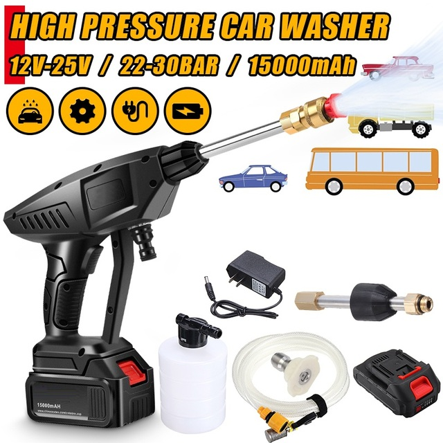 22 30 BAR Rechargeable Washing Pump Cordless Car Washer Mashine High Pressure Nozzle Hose Cleaner Water Gun For Makita Battery