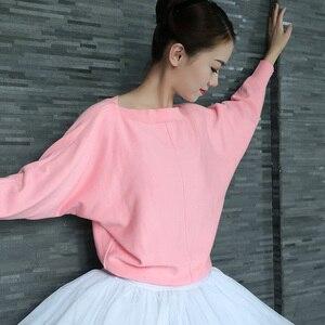 Image 1 - Kobiety taniec baletowy sweter zimowy dorosły z długim rękawem Knit Wrap taniec topy balet rozgrzewka