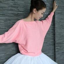 Suéter feminino para dança do balé, top de malha manga comprida adulto quente