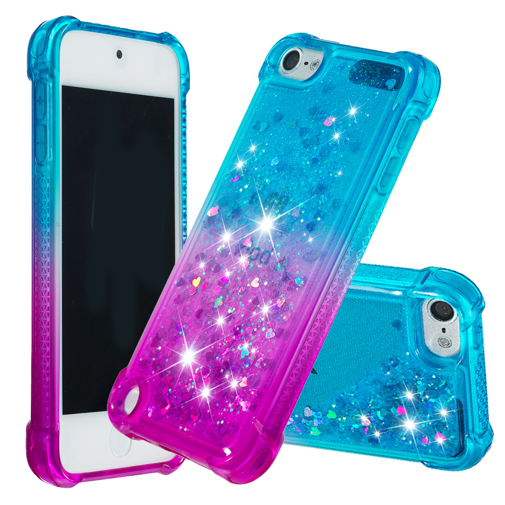 Gradient Glitter Liquid Case For Apple iPod Touch 6 Coque For Apple iPod Touch 5 Dynamic Quicksand Anti-fall Cover