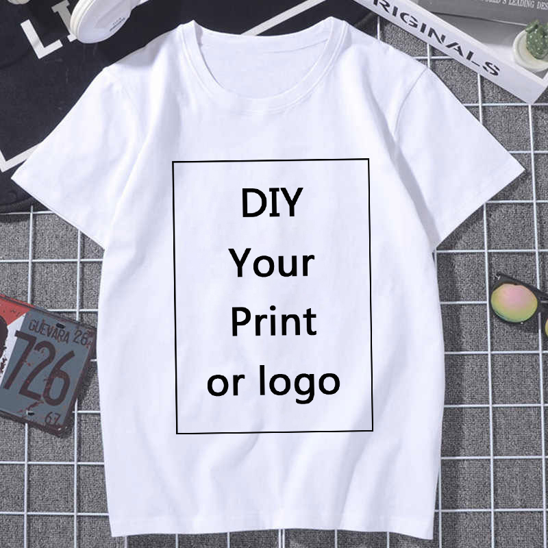Harajuku Women T-Shirt 2020 Summer Custom Logo Pattern Printing T Shirt Casual White Tops Short Sleeve Tshirt