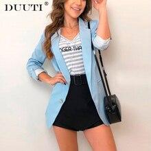 Hot Sale Fashion slim blazer Women Basic Notched Collar Solid Blazer  Open Front Chic Tops Autumn Pink Blue D30