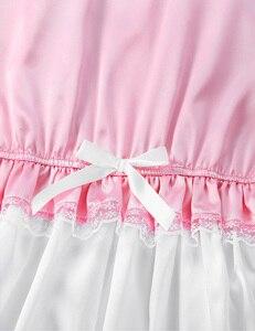 Image 5 - Sexy męskie męskie Sissy Silky Satin kołnierzyk dla lalek krótkie bufiaste rękawy przycięte koronki Romper dorosłych przebranie na karnawał sukienki na noc