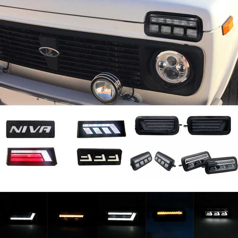 """2 個led日中走行用ライトlada niva 4x4 1995 ランニングターン信号 7 """"ledヘッドライトdrl車のチューニングランプテールライト"""