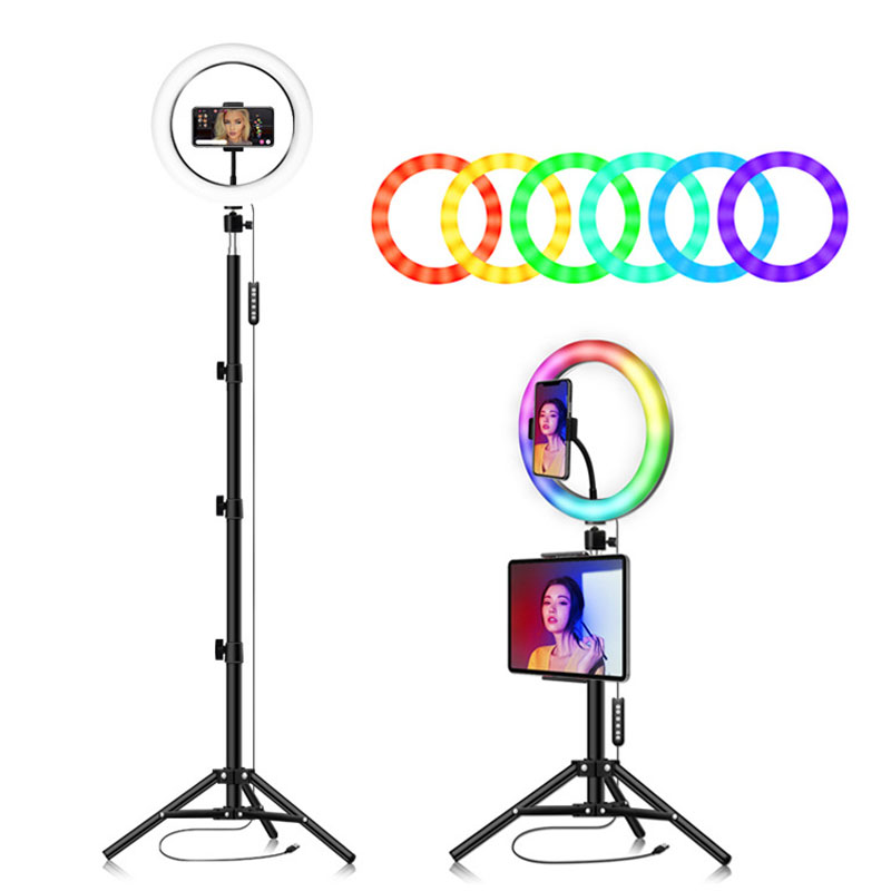10 inch LED Ring Light Phone Holder Photography Fill Light Tripod Dimmable RGB Selfie LED Ring Light Remote for Photos Videos